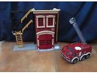 Imaginext fire station, fire engine and fireman
