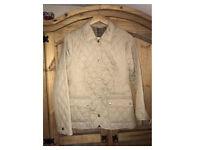 Genuine Barbour Coffee Beige Tartan Quilted Jacket Coat Sz 10 VGC