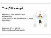 Your Office Angel provider of freelance Office Admin, Bookkeeping,Sage accounts and Sage Payroll