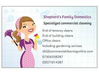 End of Tenancy, Building, Office and All Types of commercial cleaning services. Studio 75 1 Bed 100