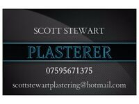PLASTERER - available from early September