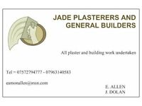 jade plasterers and general builders all building and plastering work undertaken,call 07572794777