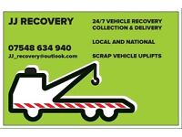 JJ RECOVERY 24HR VEHICLE COLLECTION DELIVERY RECOVERY LOCAL NATIONAL SCRAP VEHICLE UPLIFTS
