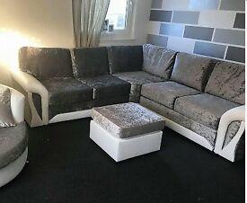 Luxurious Velvet corner sofa with FOOTSTOOL
