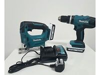 Bargain brand new makita 18v hammer drill and jigsaw with 2 batteries and heavy duty charger dewalt