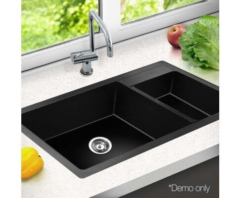 High Quality Executive Stone Kitchen Double Sink Black 860 x 500 ...
