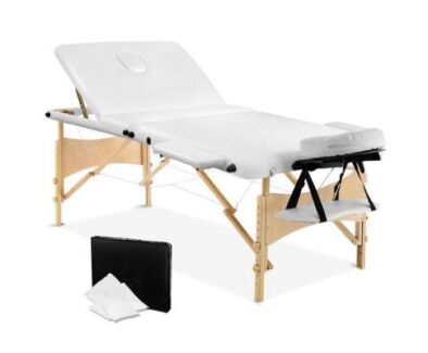 Elegant Portable Wooden 3 Fold Massage Table Chair Bed White 70cm