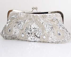 Silver Evening Bag Bead Sequin Satin Clutch Party Bridal Prom