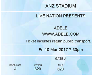 Adele Concert Ticket x 3  Sydney Fri 10 Mar Sydney City Inner Sydney Preview