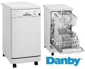 """NEW* DANBY  PORTABLE DISHWASHER - 118802235 - 18"""" WHITE W/ 8 PLACE SETTING CAPACITY"""