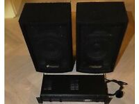 Numark x2 NDX200 decks & M101 mixer, Prosound 200 AMP & Pro sound speakers x2 all wires included
