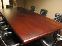 "heavey duty cherry colour offoice meeting desk, about 44""wide 8"