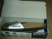 Size 6 brand new leather birkenstock. 30 pounds. Size 6 brand new silver platform shoes 15 pounds