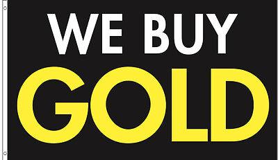 2 Pack - 3x5 Ft We Buy Gold Flag Banner Advertising Business Sign - Kb