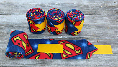 Horse Polo Leg Wraps Stable Wraps Set of 4 Superman FREE US SHIPPING