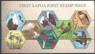 ZAMBIA SAPOA First Joint Issue Birds Souvenir Sheet 2004