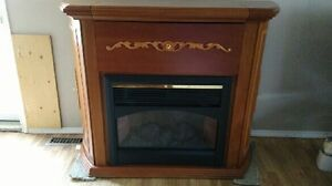 Solid oak fireplace with remote control with bar OBO