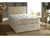 ***BLACK WHITE OR CREAM FINISH*** Brand New Double Divan Bed Base With 9 inch Deep Quilt Mattress