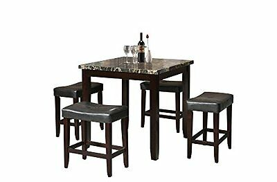 Acme Furniture Ainsley Counter Height Set (5 Pack), Black Faux Marble & Espresso