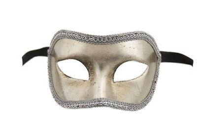 Mask Venice Colombine Silver Genuine Carnival Venetian 135