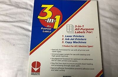 """CDM Office Products 3-in-1 All Purpose Labels100 Pack 4"""" x 1-1/3"""" Label White"""