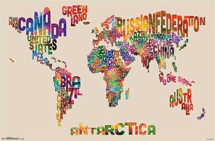 Map world poster in perth region wa gumtree australia free local colourful world map poster gumiabroncs Image collections