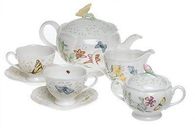 Lenox Butterfly Meadow 7 Piece - Lenox Butterfly Meadow 7-Piece Tea Set, Service for 2 , New, Free Shipping