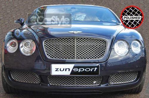 ZunSport Bentley Continental Polished Steel Mesh Lower Grille Set