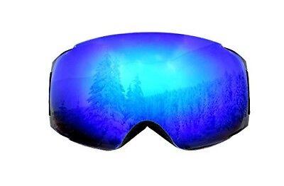 f7e8a0b886c ski snowboard goggles Blue mirror magnetic anti-fog lens with anti-slip  strap