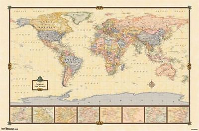 - 2013 WORLD MAP ANTIQUE STYLE POSTER CHART FOR CLASSROOM 34x22 NEW FREE SHIPPING