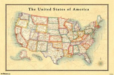 - 2013 US USA MAP ANTIQUE STYLE POSTER CHART FOR CLASSROOM 34x22 NEW FREE SHIPPING