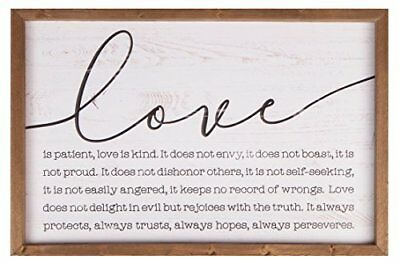 Love is Patient Kind 24.5 x 16 Wood Farmhouse Frame Wall Plaque (Love Is Kind Love Is)