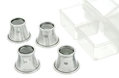 """4pc Eye Jewelers Loupe Set 7/8"""" Dia Glass Lens w/ Aluminum Body 2.5x 5x 7.5x 10x"""