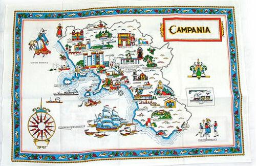 Campania, Italy Souvenir Linen Tea Towel - Kitchen Towel, Made in Italy
