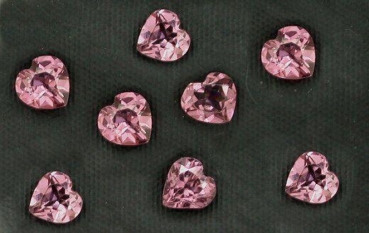 Eight 4mm Heart Faceted Rhodolite Garnet Gem Stone Gemstone Natural