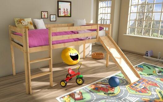 kinderbett leo kinderhochbett kinderetagenbett mit leiter hochbett 90x200cm eur 98 00. Black Bedroom Furniture Sets. Home Design Ideas