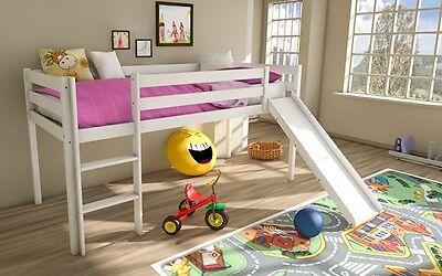 Kinder Hochbett (Kinderbett Leo Kinderhochbett Kinderetagenbett mit Leiter Hochbett 90x200cm )