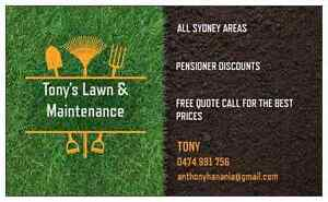 Tonys lawns services mowing mulching edgeing hedging all syd Fairfield Fairfield Area Preview