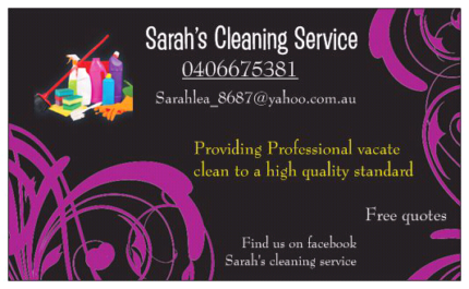 Sarah cleaning services- VACATE, PRE HOUSE SALE CLEAN