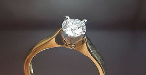 Solitaire diamond ring-D color VS clarity on 18k yellow gold set