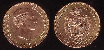 10 Pesetas Spanien Alfonso XII 1878 (1962)