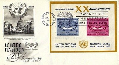 UNITED NATIONS 1965 20th ANNIVERSARY OF THE UNITED NATIONS M/S FDC
