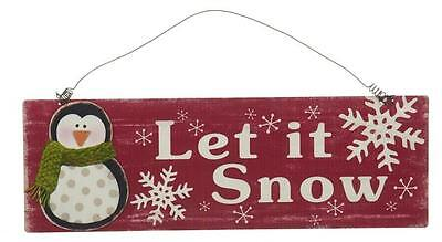 LET IT SNOW Metal Christmas Wall Plaque, Penguin, 18