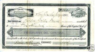 1901 Stock Prosperity Oil Company San Jose CA