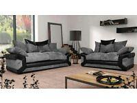 Grey or brown 3&2 seater sofa free pouffe