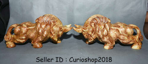 """11.6"""" Old Chinese Xiu Jade Jadeite Carved Bull Oxen Cattle Wealth Statue Pair"""