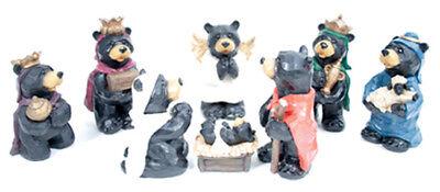 8 Piece Black Bear Nativity Christmas Set Indoor Holiday Decor Indoor Nativity Set
