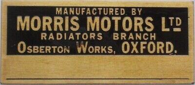 Brass Morris Motors Radiator plate - MG T series, MG TA, MG TB, MG TC, MG TD