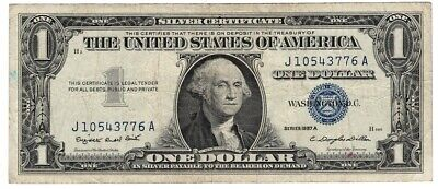 1957 $1 One Dollar Silver Certificate Blue Seal Average Circulated Condition -