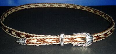 Western Decor Cowboy HAT BAND 5 Strand Light Brown/White Horsehair Buckle Design